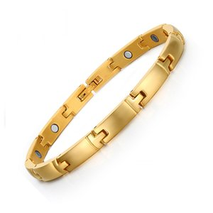 2017 réel Top Fashion Chain Link Hologram Bracelets Bracelet Santé Pulceras pour les femmes plaque en acier inoxydable Bracelets magnétiques