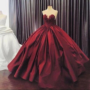 Burgundy Puffy 2020 Cheap Quinceanera Dresses Ball Gown Sweetheart Satin Appliques Lace Party Sweet 16 Dresses