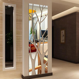 Mode Arbre acrylique Miroir Stickers muraux Stickers Living Mirror Hall Chambre Style Moderne Decal Art mural Sticker mural Stickers pour la maison