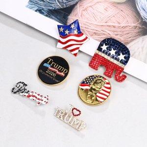 6 stili Donald Trump 2020 US Presidential Election diamante pin Trump Elezione commemorativa Badge ZZA2156 100Pcs