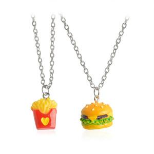 2 Pcs Dos Desenhos Animados Hamburger Batatas Fritas Food Pendant Necklace Jewelry Set para Crianças