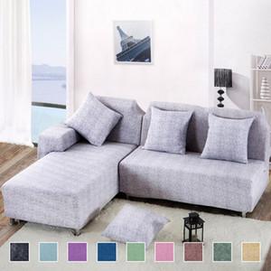 Novas 2 peças Tampas para Pattern sofá de canto L forma sofá da sala sofá secional Slipcover elástico esticar Spandex Cruz