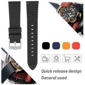 19mm 20 mm 21mm 22mm Homme Universel Bracelet en silicone en caoutchouc pour Hamilton Watchband Submarine Casio Blue Montre Bracelet Band Sport Quick Release