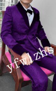 Newest Double-Breasted Groomsmen Shawl Lapel Wedding Groom Tuxedos Men Suits Wedding Prom Dinner Best Man Blazer(Jacket+Tie+Pants+Belt) T76