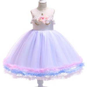 New Lovely Baby Girl Unicorn Dress Fashion Flower Princess Dresses Cute Birthday Kids Party Dress Wedding Dress Pettiskirt
