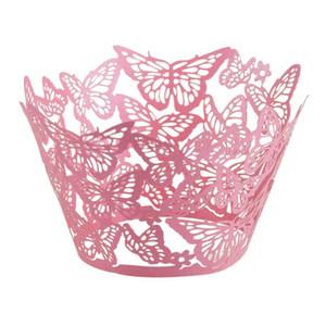 60PCS قص الليزر الفراشة كب كيك التفاف الكعك ورقة كأس كعكة الزفاف هدية مربع عيد ميلاد حزب الإحسان استحمام الطفل ديكور الزفاف
