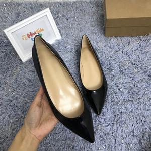 Vestir a la mujer zapatos planos de las únicas Slip-On banquete de boda de las mujeres zapatos de charol Negro zapatos en punta del dedo del pie-Zapato de vestir