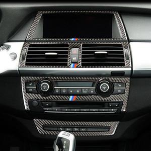 Carbon Fiber Car Inner AC CD Панель управления Навигация Выход кондиционера Декоративная рамка-рамка для BMW E70 E71 X5 X6