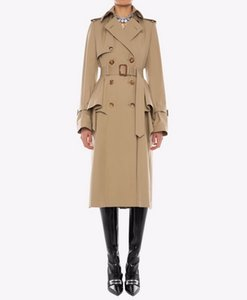 New Spring Autumn Classic Women England Style Trench Coat Middle Long Double Breasted Slim British Outerwear Trench Coats A165