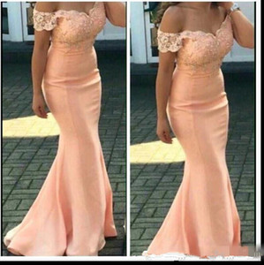 Setwell Cheap Bridesmaid Dresses For Weddings Peach off shoulder Lace Appliques Mermaid Floor Length Formal Maid of Honor Gowns Plus Size