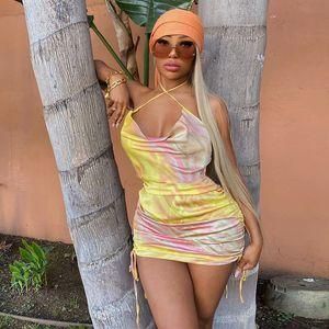 Frauen reizvolle Sommer-Kleider Tie Dye Satin Kordelzug mit Rüschen besetzten Backless Sommerkleid Bodycon Minikleid-Partei Clubwear