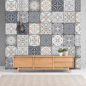 quality eco friendlyWaterproof Wall Stickers Retro Pattern Tile Floor Sticker PVC Bathroom Anti-slip Floor TV Wall Art Mural Diy