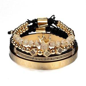 Venta caliente clásico hecho a mano trenzado pulsera oro Hip Hop hombres pavimenta CZ circón corona número romano pulsera joyería de lujo