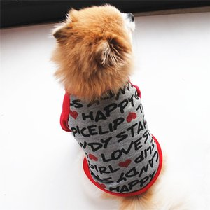 Gray Cat Clothing 2019 Spring Pet Clothes Fashion Letters Print Cat Hoodies Cotton T Shirt T-shirt for Kitten and Doggy XS-XL