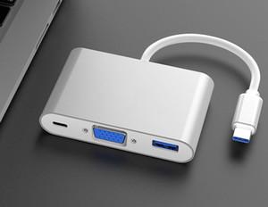 USB 3.1 Tipo C a VGA USB 3.0 PD TYPE-C per VGA + USB 3.0 + adattatore del caricatore Multiporta PD per Macbook smart phone 60pcs / lot