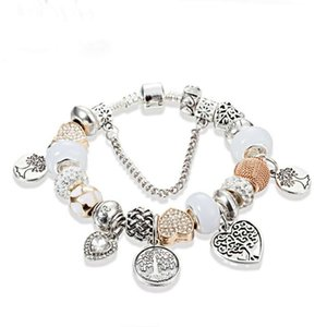 Charm Silver Bracelet Life Tree Pendant Bangle Love Charm beads fit for snake chain DIY Wedding Jewelry women bracelets