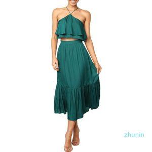 Мода-Женщины Лето бифштексы Эпикировка Backless Топы Длинная юбка 2 шт комплект костюм черный 2020 Одежда Beach Holiday CAMIS Streetwear