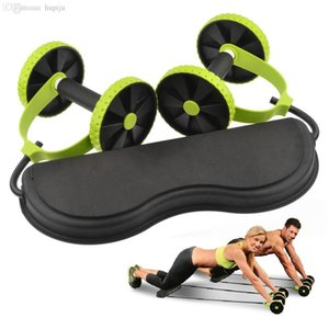 Wholesale-Free shipping Home Exercise Equipment Core Double ad Wheels Ab Roller Pull Rope Abdominal ad trainer to Waist Slimming abdominal