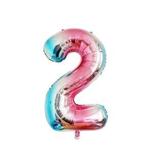 Gradient Nombre Aluminium Foil Ballon de numéro coloré Film Ballons Jouet gonflable hélium Ballon Birthday Party Décor DBC VT1681