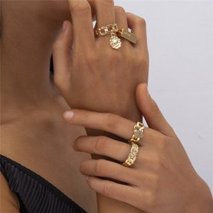 10Sets Lot Retro Hollow Out Flower Disk Ring Lettering Crystal Square Finger Rings Set For Women Four Piece Lock Design Jewelry Sets