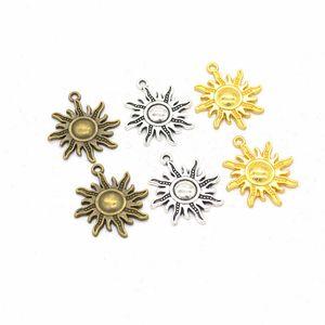 50pcs / embalar encantos Sun Jóias DIY Fazendo pingente Fit pulseiras colares brincos artesanais Artesanato Prata Charme Bronze