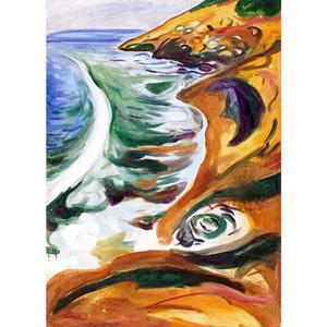 Wall Art Edvard Munch Pittura ad olio per la vendita Waves Breaking on the Rocks Decorazione domestica dipinta a mano