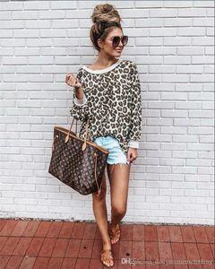Sexy Leopard-lange Hülse O Ansatz Frauen Sweatshirts lösen bunte Frauen Tops Mode-Herbst-Dame Hoodies