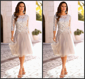 Cheap Lace Mother of The Bride Dresses Tiered Tulle 3 4 Sleeves Knee Length Wedding Party Dresses A Line Mother's Dresses Custom Made 7