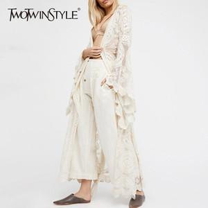 Twotwinstyle Camicia da donna in pizzo ricamato Camicia da donna con maniche a campana Maxi Camicetta da donna 2018 Summer Fashion Holiday Style Taglie forti J190613