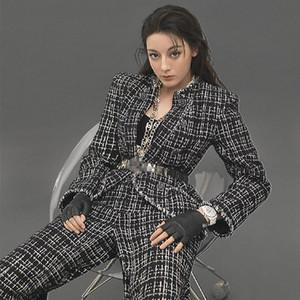 Frauen S Kleidung 2 Stück Set Stern Gleichen Absatz Tweed Anzug Anzug Neue Plaid Anzug Jacke Weibliche Lange Hosen