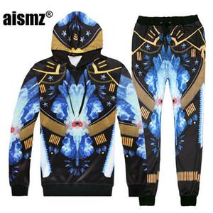 Aismz Autunno Inverno Uomo sportivo Tuta Set 3D Stampa amanti Felpa con cappuccio + pantaloni 2 pezzi Moletom Masculino Men Suit