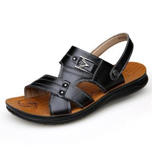Горячая распродажа-оптовые мужские сандалии кожа досуг мужская сандалия голова слой кожаные тапочки дропшиппинг