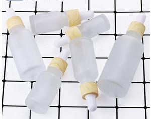 5 ml 10 ml buzlu cam damlalık şişe temizle esansiyel yağı vape e sıvı şişe ile ahşap tahıl kapaklı özel baskı logo