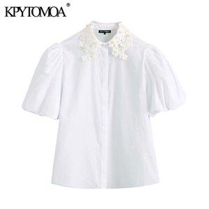 KPYTOMOA Femmes 2020 Doux Mode Faux Perle perlage Blanc Blouses Vintage col à revers manches bouffantes femmes Chemises Tops Chic