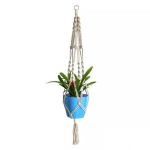 Plante Hangers macramé corde Pots Porte d'intérieur Flowerpot panier de levage Hanging Jardinière suspendue Panier Porte-plantes