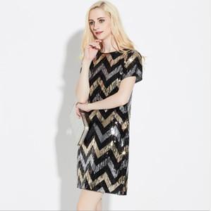 Tasarımcı Yaz Partisi Elbise ışıldamaya Baskı Mürettebat Yaka Kısa Kollu Kadın Giyim Gece Kulübü Stil Gündelik Giyim Womens