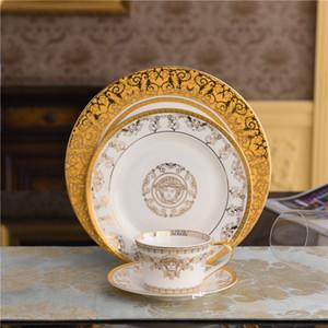 Bone-alto grado de porcelana vajilla de porcelana Vajillas occidental placas de cerámica tazas y platillos de Set platos de carne estreno de una casa de regalo