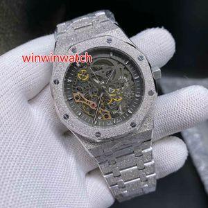 mens concepteur nouvelle montre argent FROSTED Designer composent des numéros creux de l'acier Tous les sports automatique montre-bracelet mécanique 42MM montre de sport