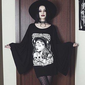 Abito InsGoth Strega stampato gotico autunno del chiarore del manicotto lungo nero slaccia più elastico del vestito da partito della signora Goth Dresse