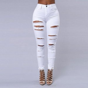2020 New Ripped Jeans For Women Women Big Size Ripped Trousers Stretch Pencil Pants Leggings Jeans Black White #3