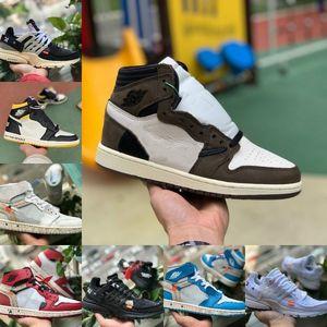 2019 white air jordan Retro off Jordans Nike Promozioni Scarpe da pallacanestro Travis Scotts X 1 alte OG Mid Scarpe da pallacanestro economiche UNC Chicago Unisex per uomo