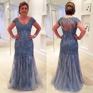 2019 Vintage Scoop Neck Plus Size Mutter der Braut Kleider Cape Sleeve Shining Kristall Perlen Mermaid bodenlangen formale Abendkleider