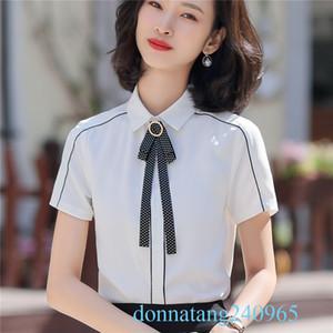 BS956 Zarif Gömlek Kadın Giyim 2020 Yeni Kısa Kollu Beyaz Bluz bağladı Büro Bayanlar İş Elbiseleri blusas Femininas ile Tops