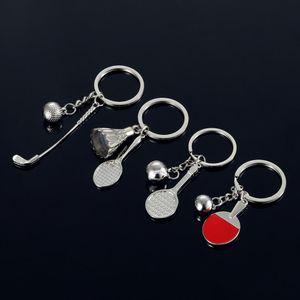 100 pieces lot Sports exercise car key chain Badminton Golf Tennis Key rings Pendant2020new