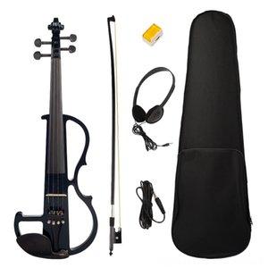 Elektrische Strings 44 Full Size mit Kasten Bow Kopfhörer Rosin Set Schwarz New Electric Violin Violin Saiten 44 Full Size Violin mit Koffer Bogen Ea