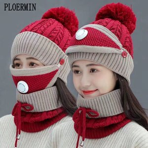 2019 New 3 Pieces Set Women's Knitted Hat Scarf Caps Neck Warmer Winter Hat For Ladies Girls Skullies Beanies Warm Fleece Caps