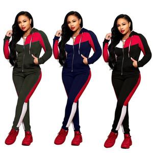 Mode femme Vêtements 2PCS Costumes à capuchon Manches longues pour femmes hauts Zipper Survêtements Vêtements Famale Club de remise en forme Sets Livraison gratuite