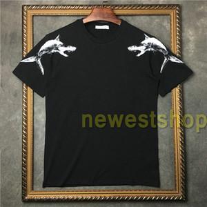 2020-Sommer-neue Kleidung der Männer Haifisch Abbildung Muster-Druck-T-Shirts Art und Weise der Frauen mit kurzen Ärmeln T-Shirt Designer-T-Shirts beiläufige Baumwolle T-Shirt
