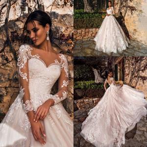 2019 Lindo Blush Rosa Vestidos de Casamento Sheer V Neck Manga Longa Lace Appliqued Tribunal Trem Vestidos de Noiva Vestidos De Noiva