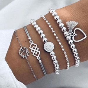 S1232 Hot Fashion Jewelry Armband Set Wulstiger Herz Hollowed Blume Layered Armbänder 5pcs / set